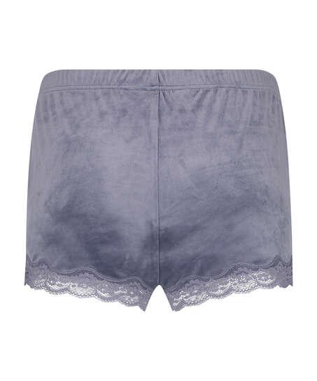 Shorts i sammet och spets, Grå