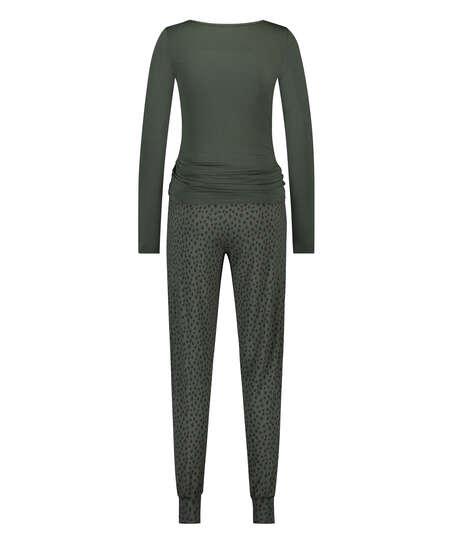 Leopardprickigt pyjamasset med spets, grön
