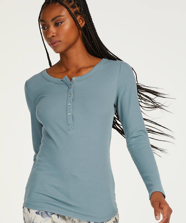 Pyjamastopp med långa ärmar, blå, main