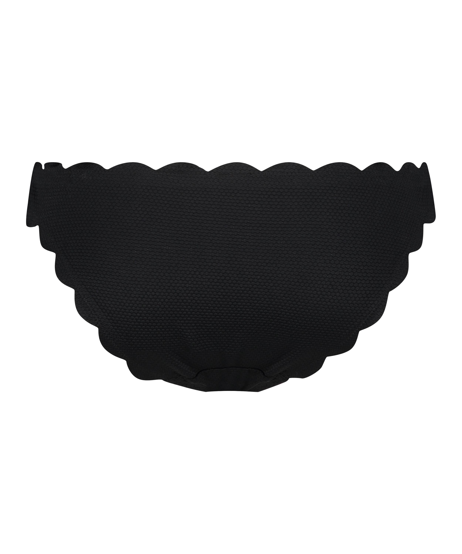 Scallop Glam rio-bikiniunderdel med låg midja, Svart, main