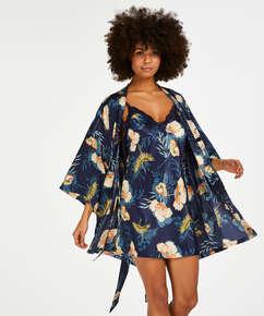 Kimono med tropisk vadarfågel, blå