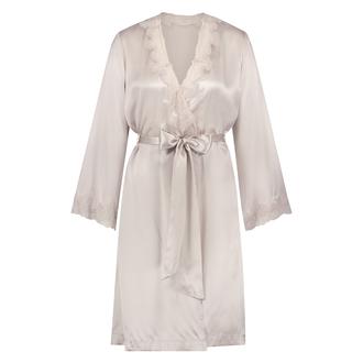 Kimono med kant i sidenspets, Rosa