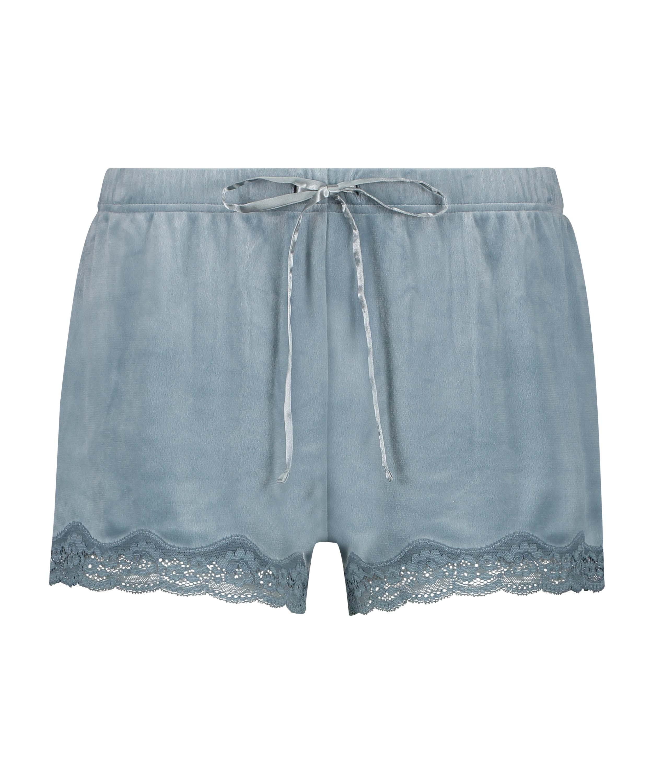 Shorts i sammet och spets, blå, main
