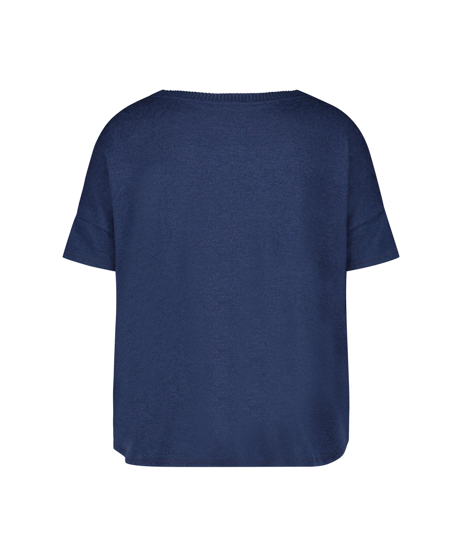 Kortärmad pyjamaströja i borstad jersey, blå, main