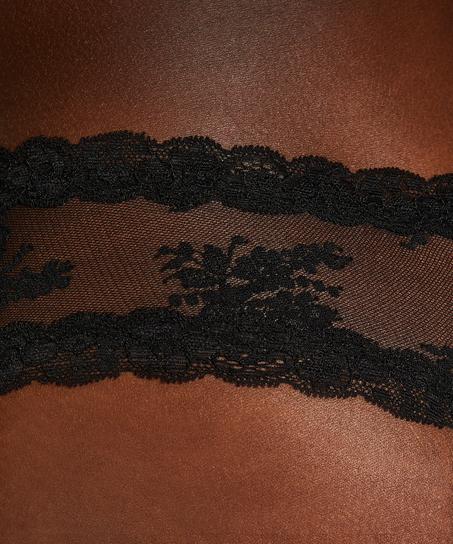 V-formad brazilian-trosa i mesh-tyg, Svart