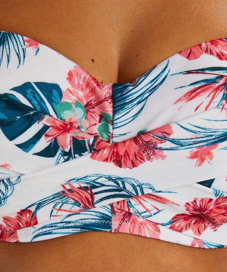 Vintage formpressad bandeau-bikinitopp, Vit