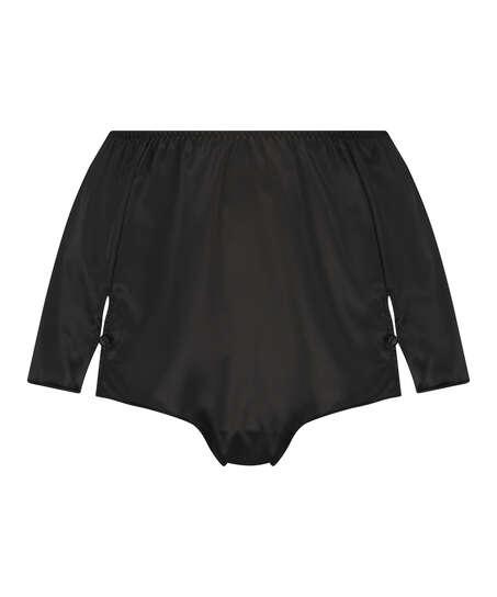 Amelia Tap Satin Shorts, Svart