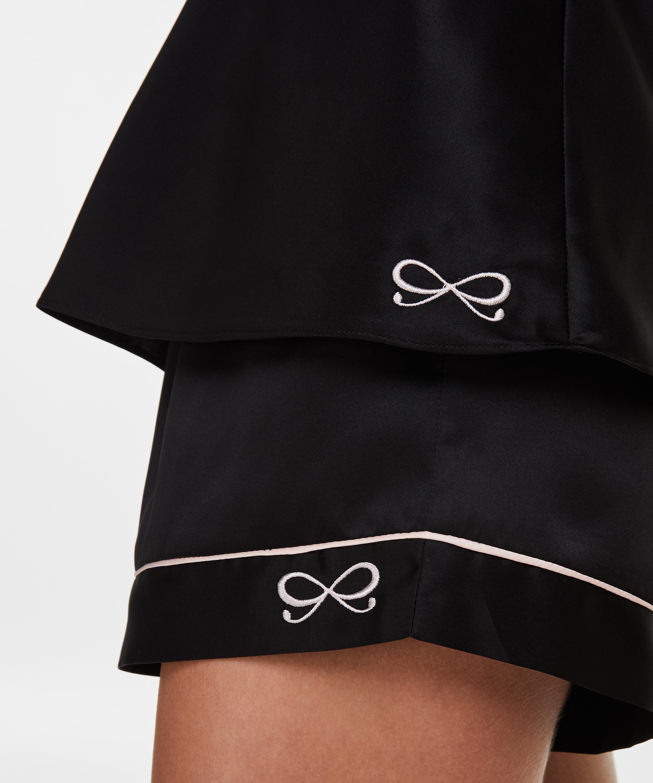Pyjamas short satin lace, Svart, main