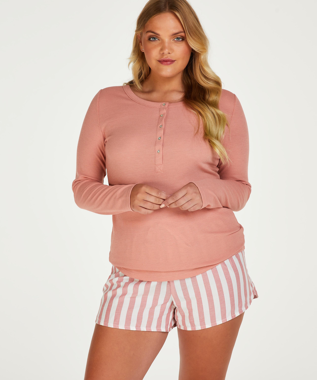Pyjamastopp med långa ärmar, Rosa, main