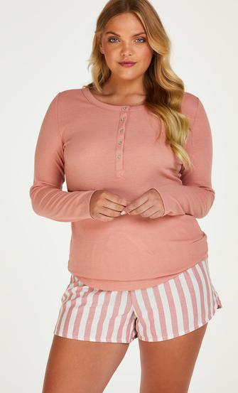 Pyjamastopp med långa ärmar, Rosa