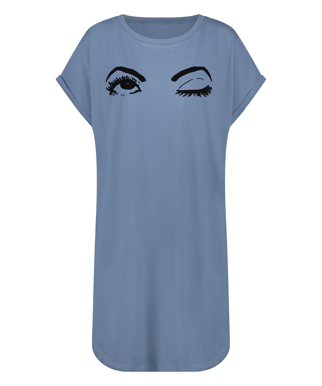 Nattskjorta med rund hals, blå, main