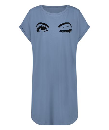 Nattskjorta med rund hals, blå
