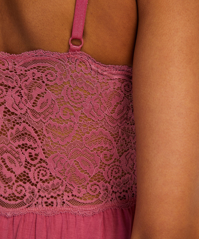 Vera underklänning i jersey och spets, Rosa, main