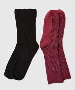 2 par ribbade strumpor Soft Touch, röd