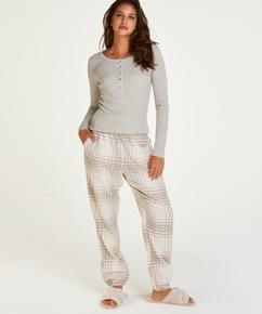 Pyjamasbyxor i rutig twill, Grå