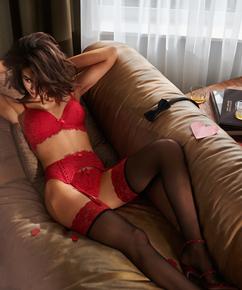 Stockings 15 Denier Fancy Lace Top, röd