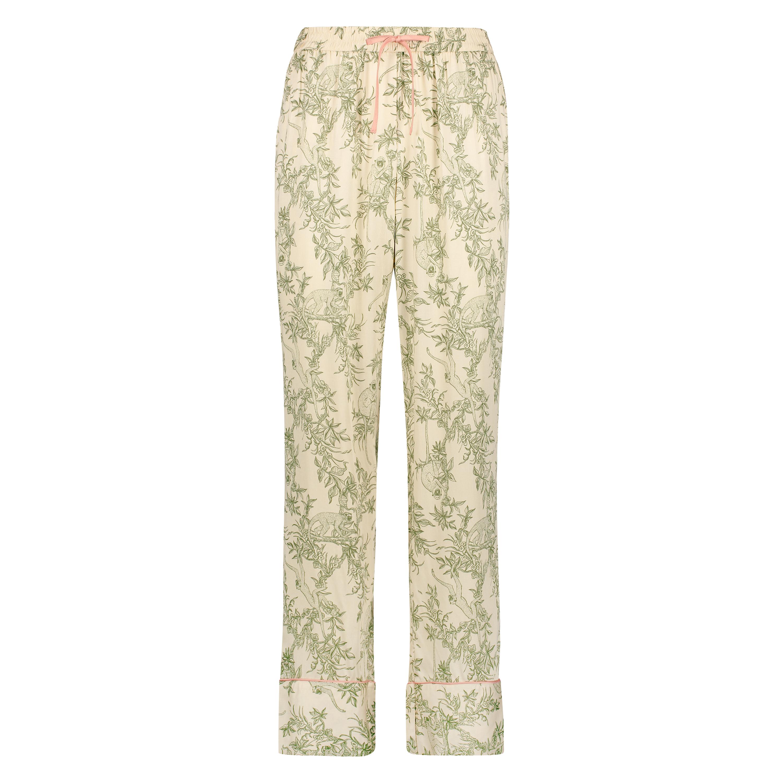 Pyjamasbyxor i vävt tyg, Beige, main