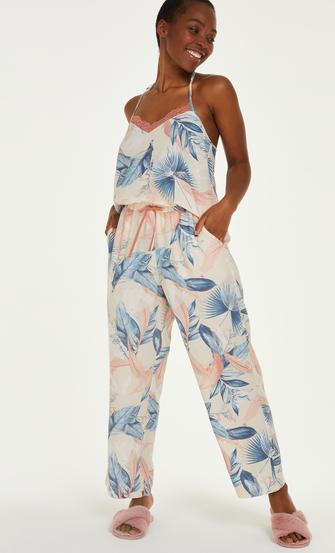 Petite Stickade pyjamasbyxor, Beige