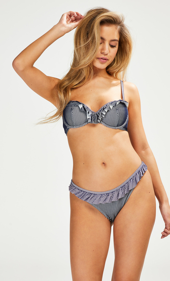 Ruffle Strip formpressad bikiniöverdel med bygel, blå
