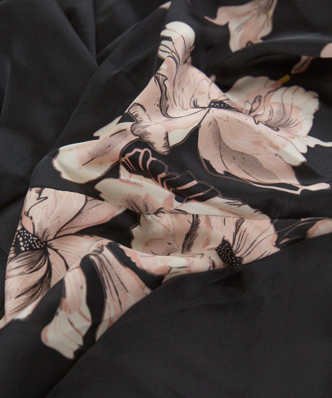 Bloom satin-kimono, Svart, main