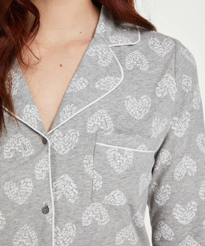 Pyjamastopp med hjärta, Grå, main