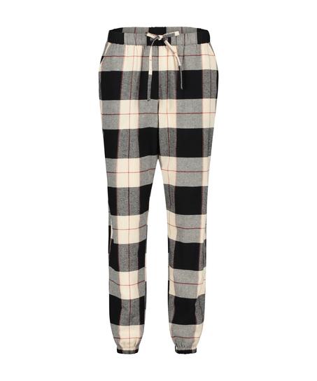 Twill Check pyjamasbyxor, Svart