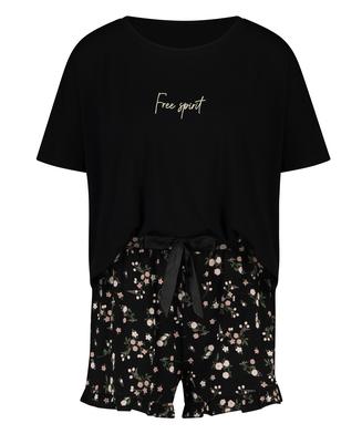 Ditzy blommönstrat kort pyjamasset, Svart