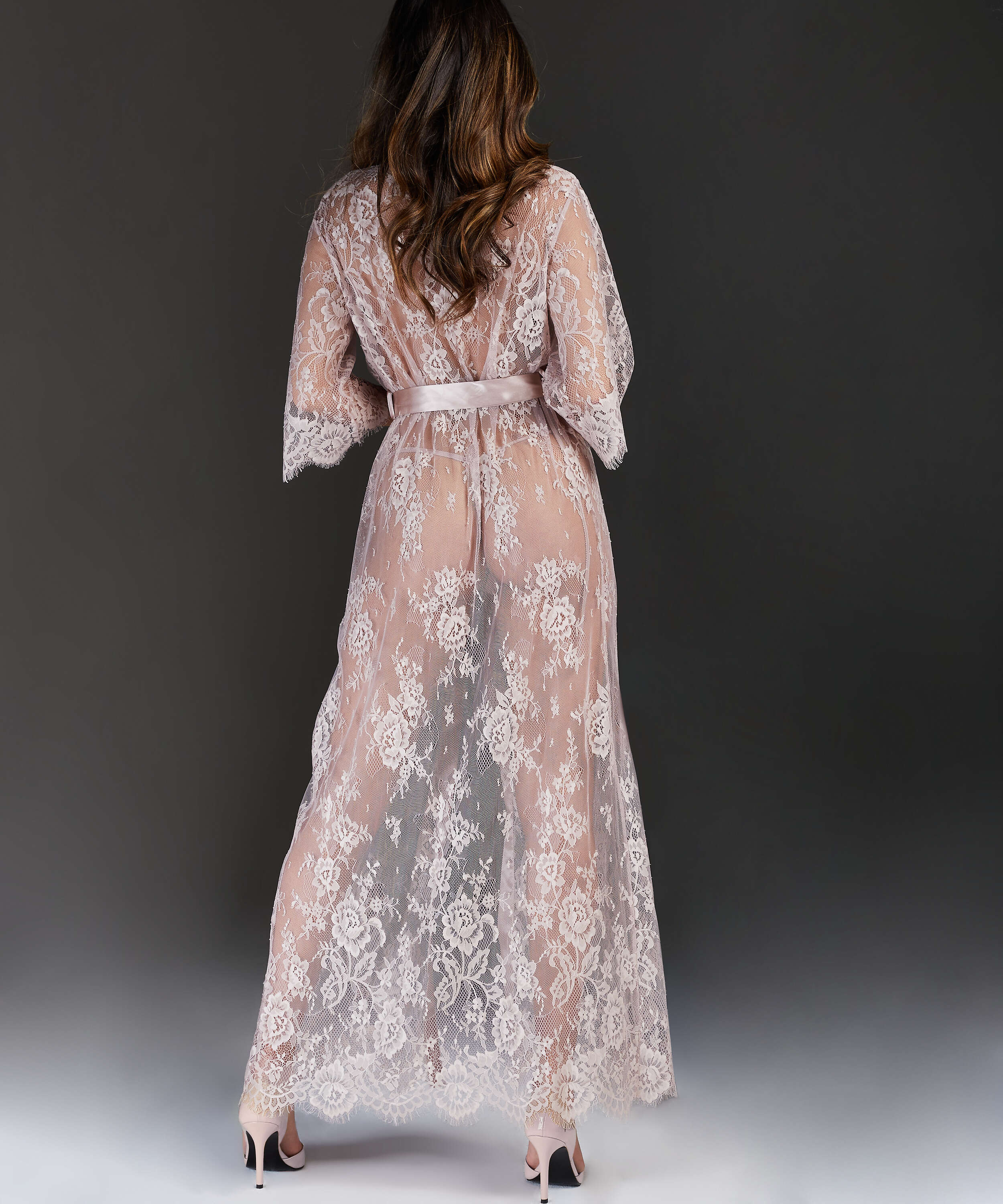 Lång kimono Allover Lace, Beige, main