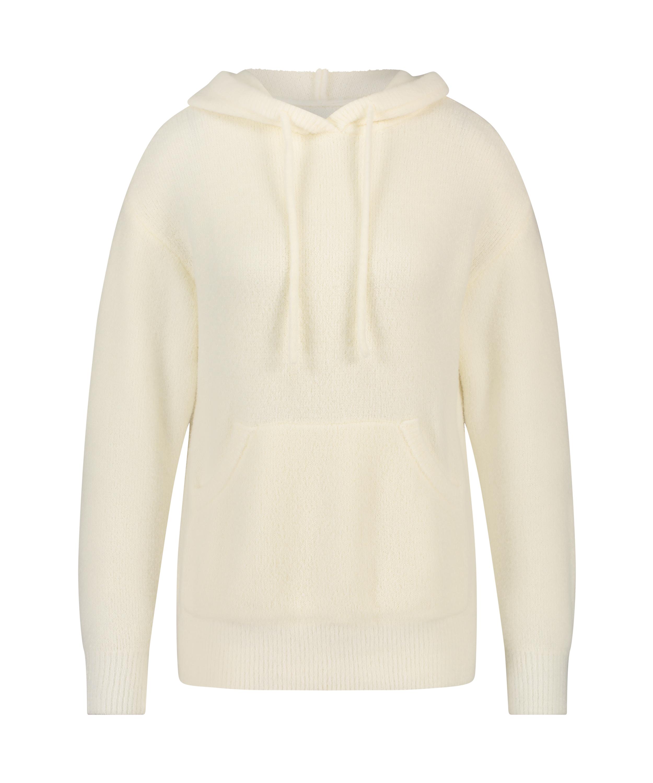 Premium Fluffly långärmad hoodie, Vit, main