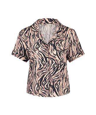 Zebra pyjamastop, Beige