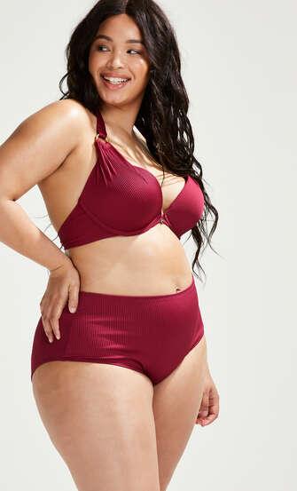 Golden Rings bikiniunderdel med höga ben, röd