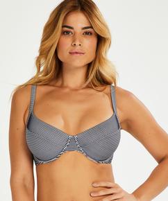 Ruffle icke-formpressad bikiniöverdel med bygel, blå