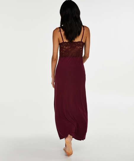Lång underklänning Modal Lace, röd
