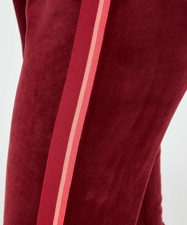Joggingbyxor Velour Stripe, röd, main