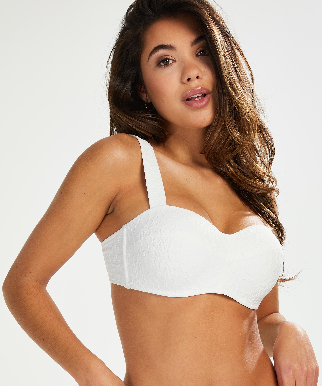 Libby formpressad bandeau-bikinitopp, Vit, main