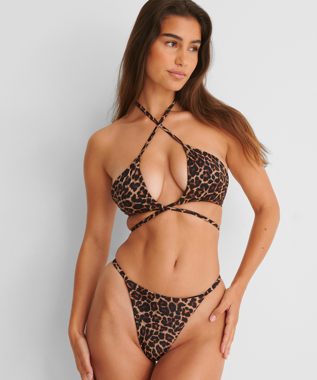Bikinitopp med vadderad triangel med djurmotiv HKM x NA-KD, Brun, main
