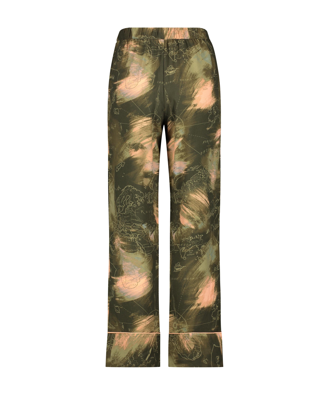 Tall Stickade pyjamasbyxor, grön, main