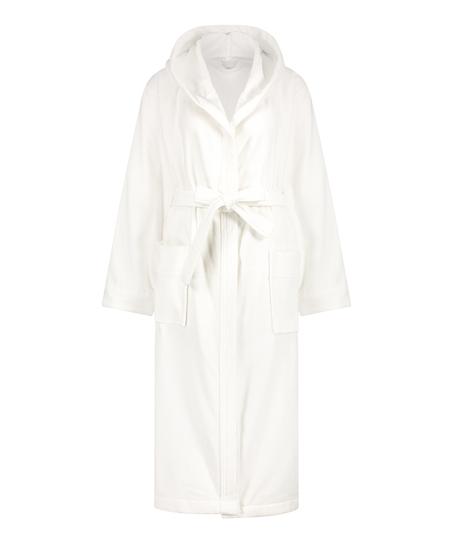 Lång badrock i fleece, Vit