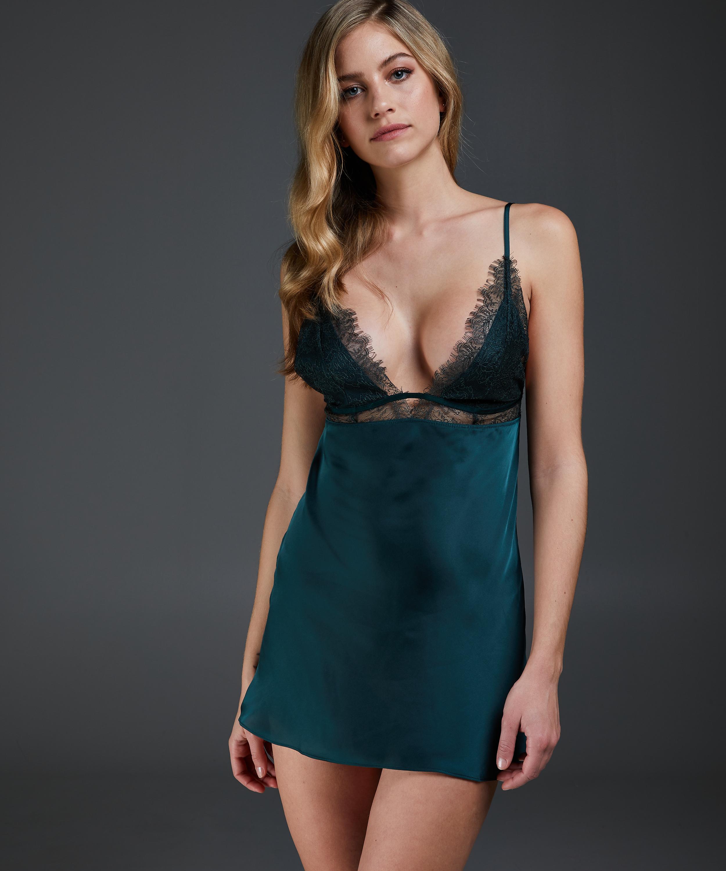 Satin Holly underklänning, grön, main