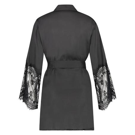 Kimono Lace Satin, Svart
