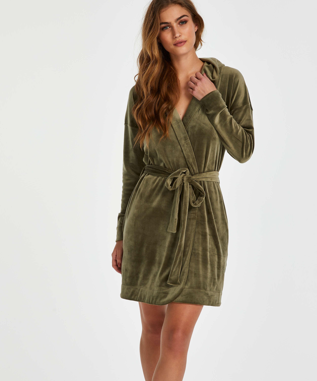 Kort badrock i velours, grön, main