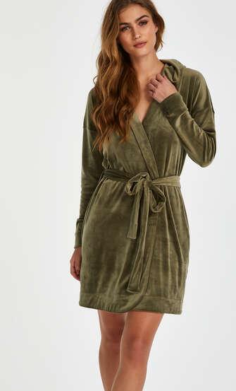 Kort badrock i velours, grön