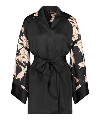 Bloom satin-kimono, Svart