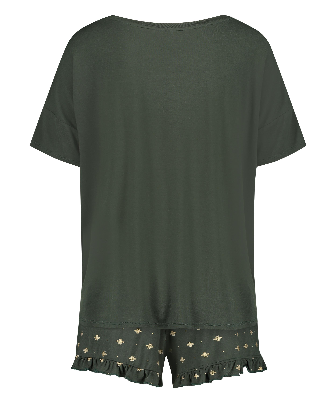 Kort pyjamas-set, grön, main