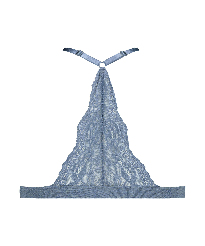 Chloe formpressad triangel-bralette av bomull, blå, main