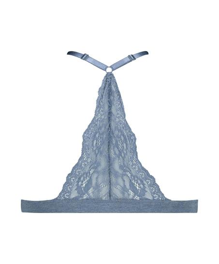 Chloe formpressad triangel-bralette av bomull, blå