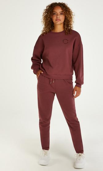 Borstad långärmad boyfriend-tröja, Rosa