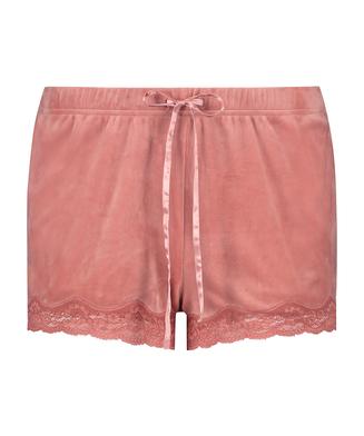 Shorts i sammet och spets, Rosa