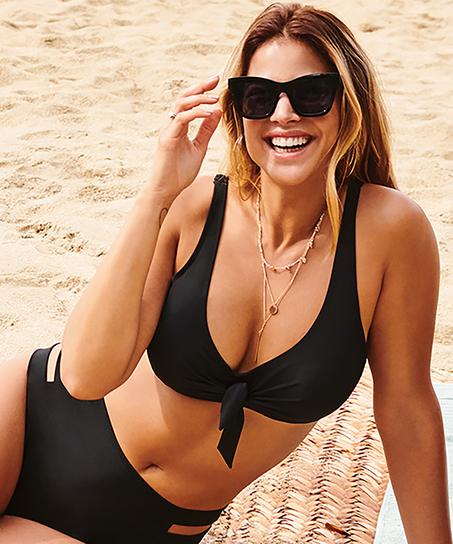 Oformad bikinitopp med knäppe Sunset Dreams, Svart