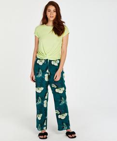 Kortärmad pyjamastopp i ribbtyg., Gul